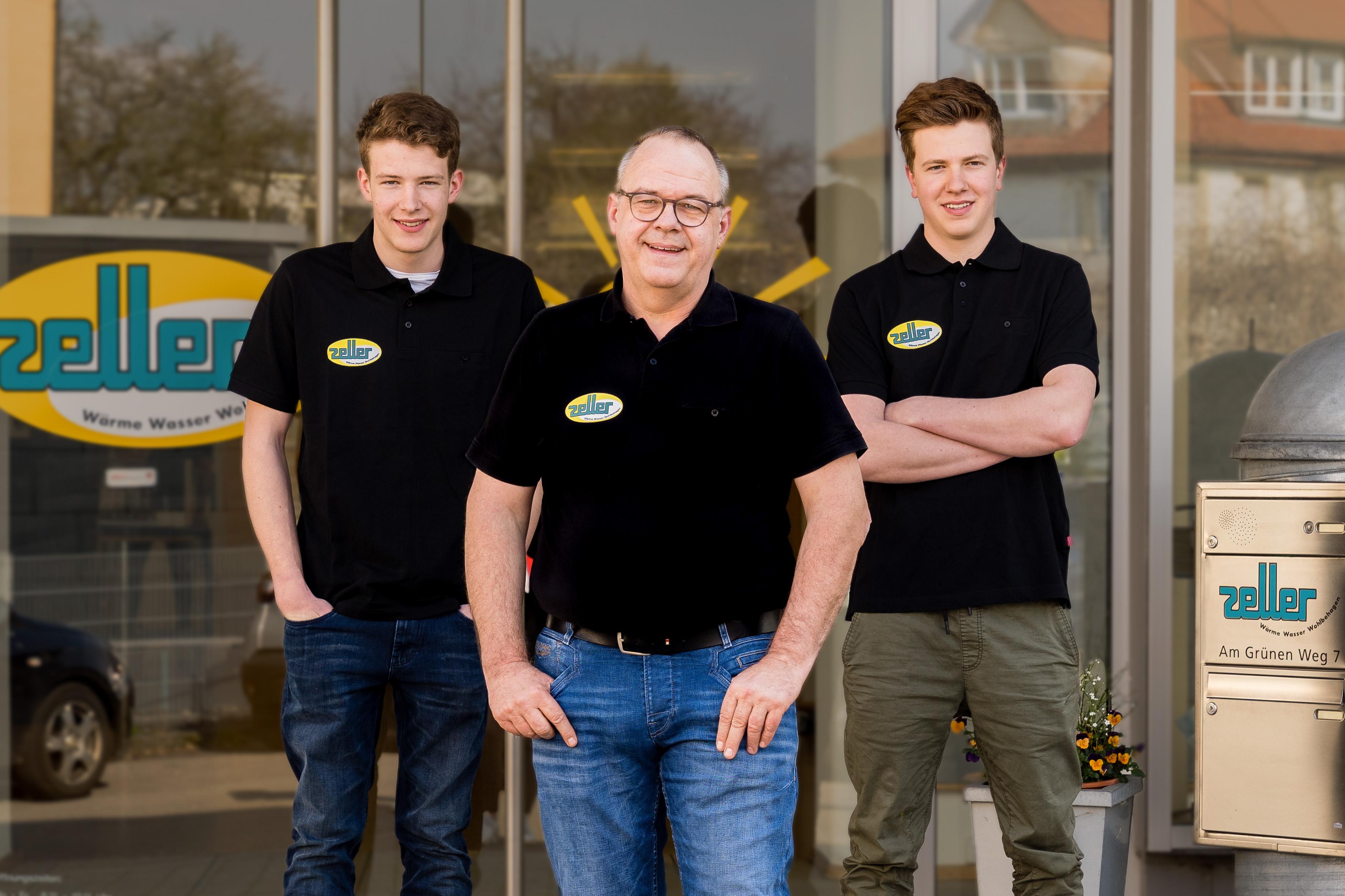 Jürgen Zeller mit seinen Söhnen Bastian und Marius
